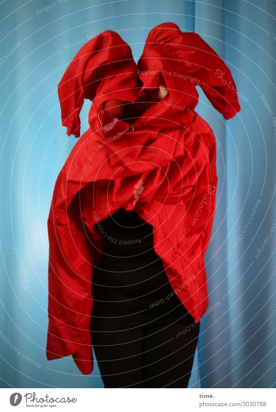 fitting Feminine Woman Adults 1 Human being Art Actor Pants Dress Cloth Drape Curtain Movement To hold on Stand Dark Rebellious Blue Red Passion Life Endurance