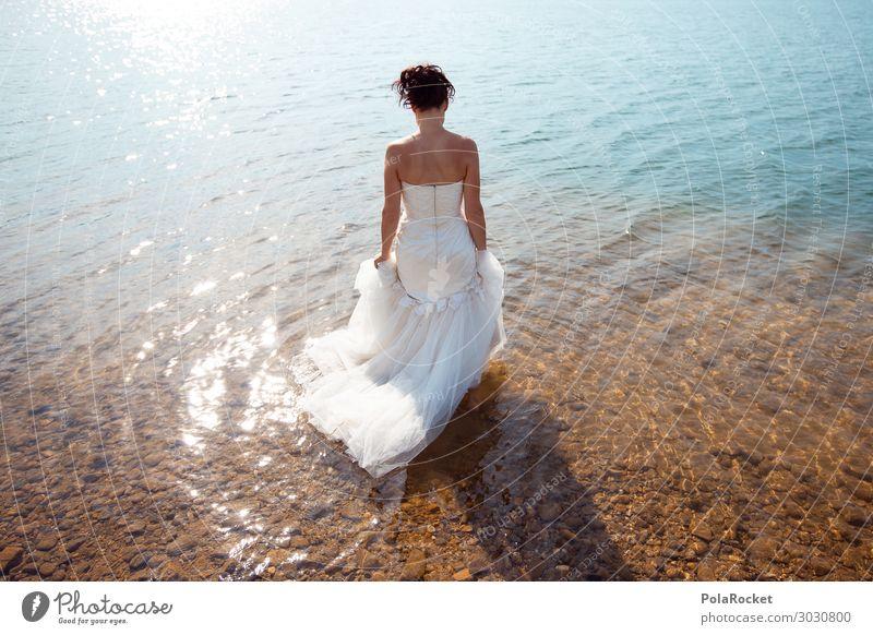 #A# Tradition Art Esthetic Bride Wedding dress Bridal veil Dress Ceremony Woman Fashion Model Manikin Lake Lakeside Colour photo Subdued colour Exterior shot