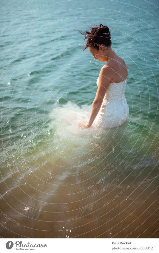 #A# on a warm day Art Esthetic Dress Bride Wedding dress Bridal veil Woman Ceremony Colour photo Subdued colour Exterior shot Close-up Detail Experimental