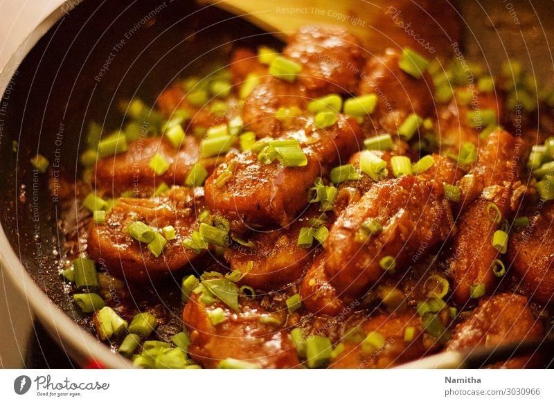 Asian style Chicken Eating Nutrition Fresh Lunch Asian Food Pan