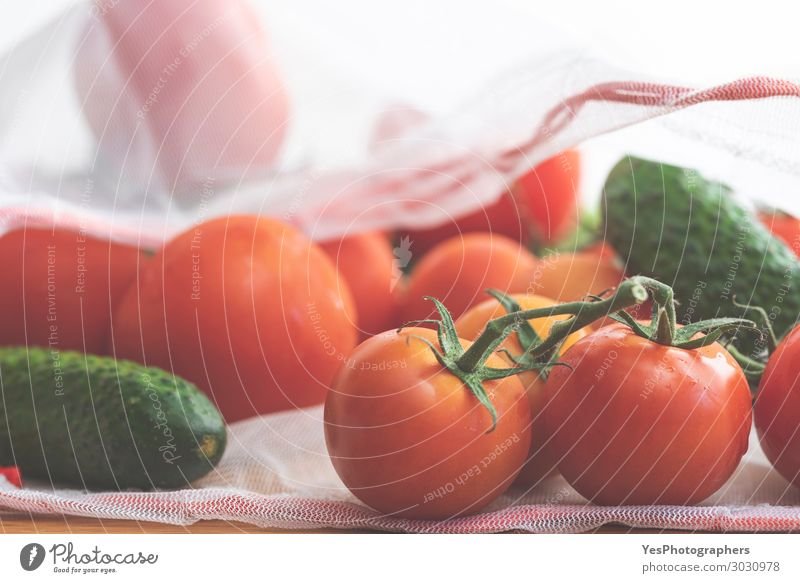 Vegetables in ecological bag close-up. Healthy Eating Colour Green White Red Food Lifestyle Environment Fresh Modern Diet Vegan diet Tomato Packaging