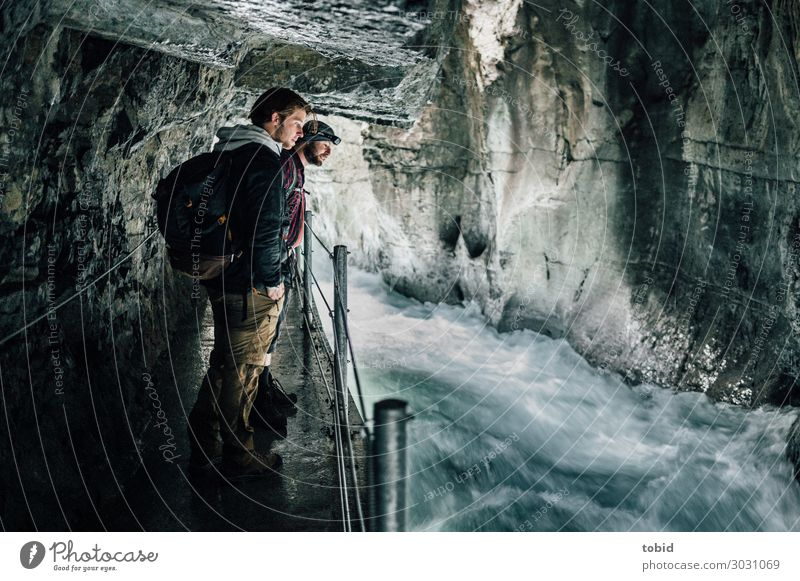 Ripping River Masculine 2 Human being Nature Landscape Rock Waves River bank Brook Canyon Lanes & trails Observe Movement Adventure Handrail Freedom Flow Hiking