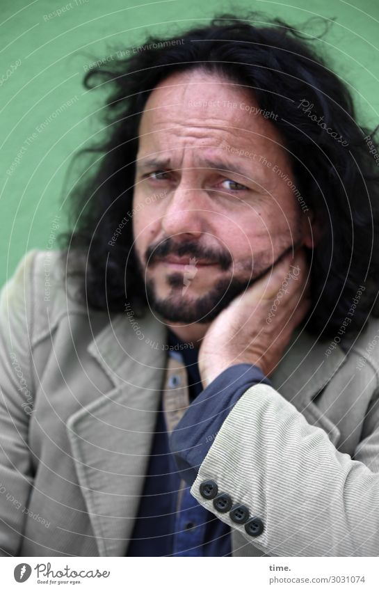 temporarily doubting | AST 10 Masculine Man Adults Human being Shirt Jacket Black-haired Long-haired Curl Observe Think Looking Wait Emotions Moody