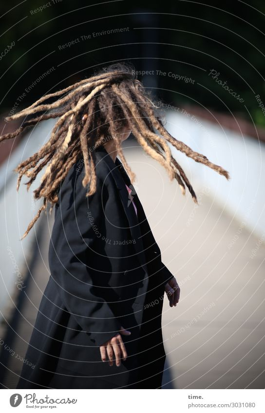 Flow | AST 10 Feminine Woman Adults Human being Chemnitz Bridge Coat Hair and hairstyles Blonde Long-haired Dreadlocks Movement Rotate Stand Exceptional
