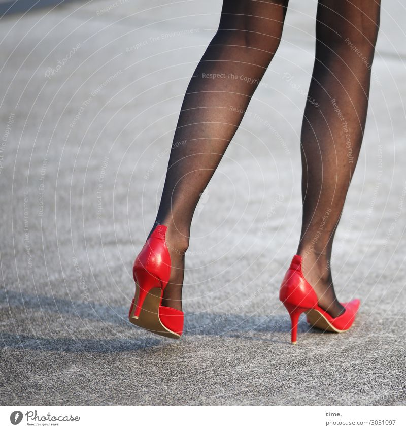 stylish | AST 10 Feminine Woman Adults Legs Feet Human being Street Asphalt Tights High heels Going Stand Gray Red Self-confident Passion Together Eroticism