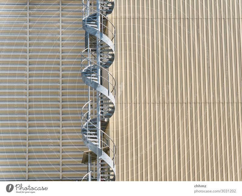spiral staircase Silo Stairs Winding staircase Architecture Handrail Facade Vertical Tall Steel Upward Metal built Exterior shot Structures and shapes Beige