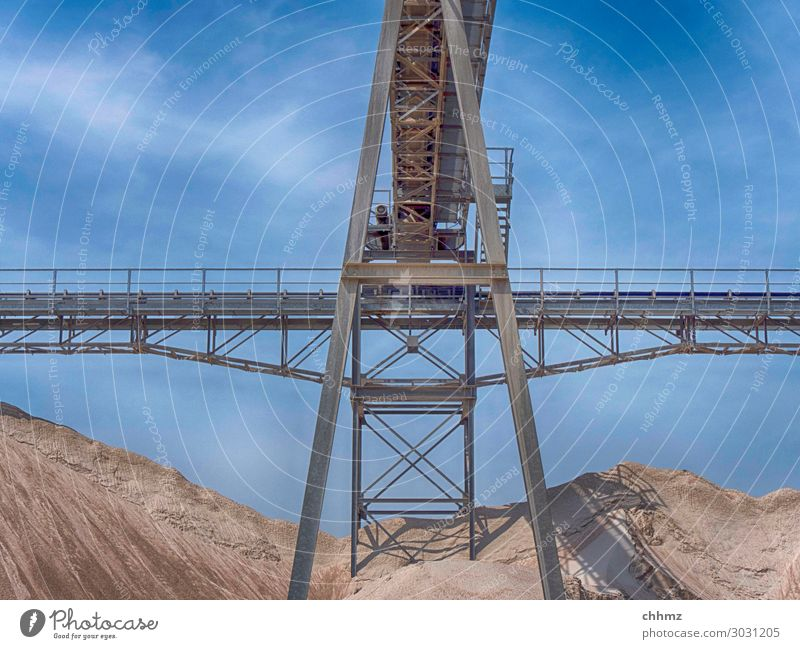 Conveyor belt in the gravel plant Gravel Sand Mine tower Gravel plant Transporter Heap Sandpit Steel carrier Steel construction Require