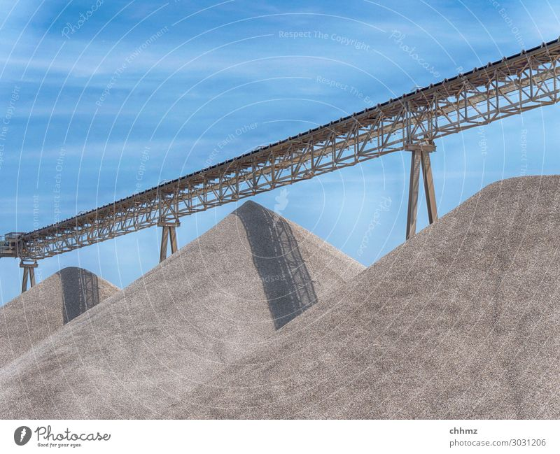 Three sand hills Gravel Sand Conveyor belt Mine tower Gravel plant Transporter Heap Sandpit Steel carrier Steel construction Require