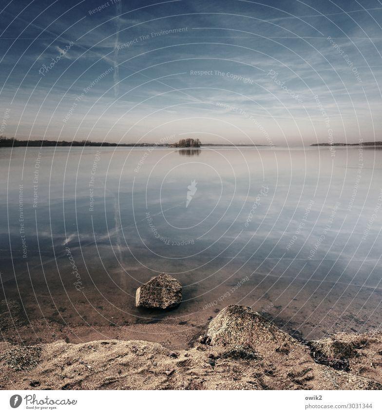 Sky Water Clouds Calm Far-off places Autumn Lake Sand Horizon Idyll Island Beautiful weather Large Lakeside Infinity Longing