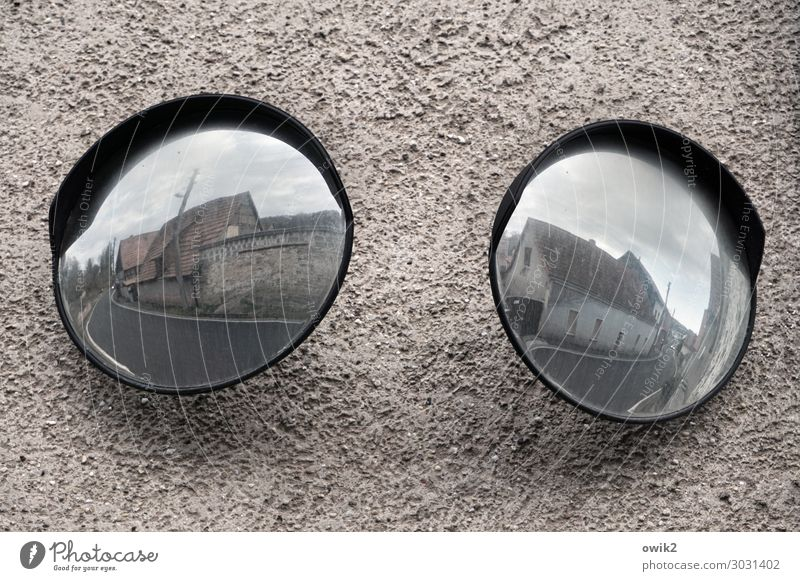 round trip Sky Clouds House (Residential Structure) Wall (barrier) Wall (building) Facade Transport Street Mirror Large Round Responsibility Attentive