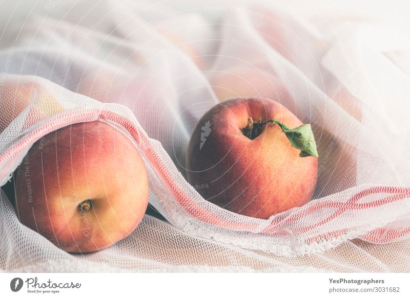 Reusable shopping bag with peaches Food Fruit Diet Lifestyle Shopping Healthy Eating Environment Packaging Package Plastic packaging Sack Fresh agriculture