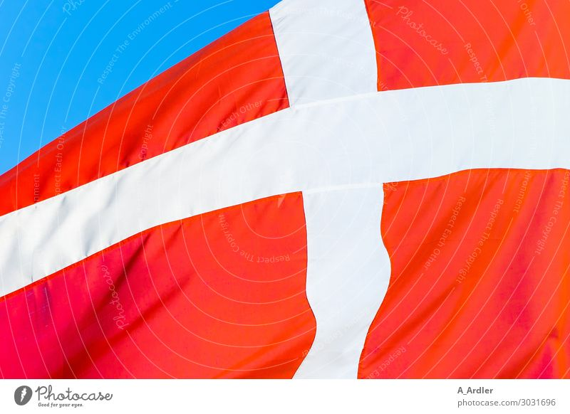 Airy | Flag of Denmark Vacation & Travel City trip European Sign Signage Warning sign Crucifix Stripe Flagpole Blue Red White Back Blow Movement Colour photo