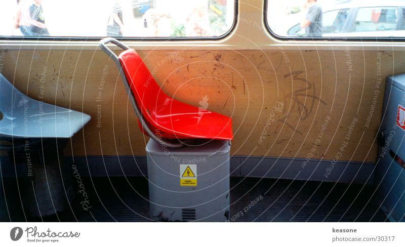 Old Red Wall (building) Window Transport Railroad Chair Armchair Beige Lens Tram Ghetto Prague Scratch
