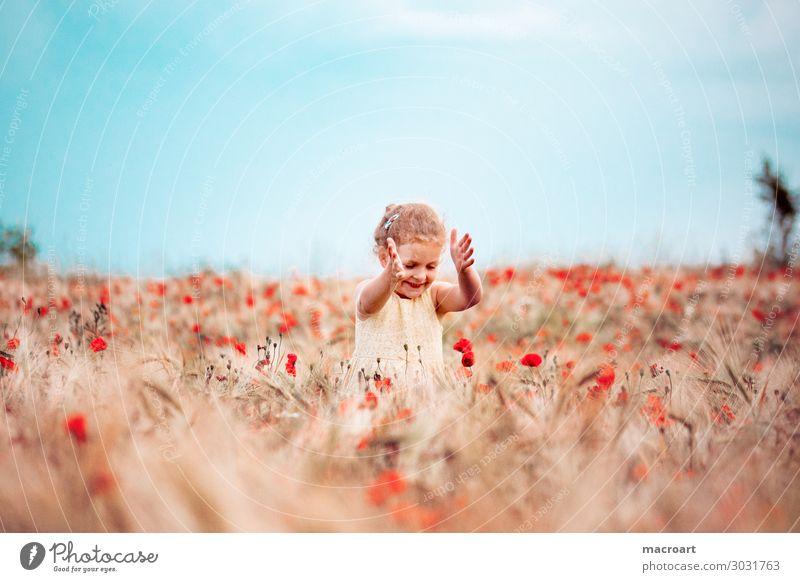 poppy blossom Poppy field Poppy blossom Child Girl Summer Spring White Dress Woman Feminine Stand Nature Natural Odor Flower Corn poppy Fragrance Joy Happiness
