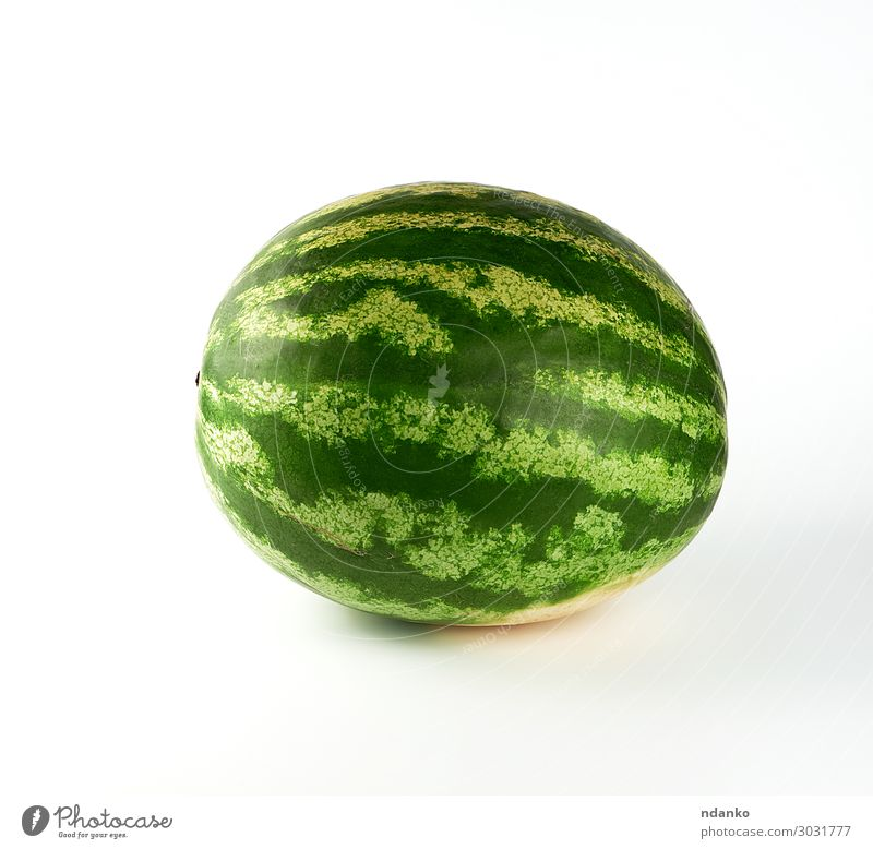 big green striped whole watermelon on a white background Fruit Dessert Nutrition Eating Vegetarian diet Summer Nature Fresh Large Juicy Green Red White