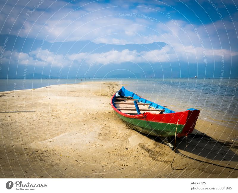Colorful boat in the sand Beautiful Vacation & Travel Tourism Summer Sun Beach Ocean Mountain Nature Landscape Sand Sky Coast Lake Watercraft Blue Serene