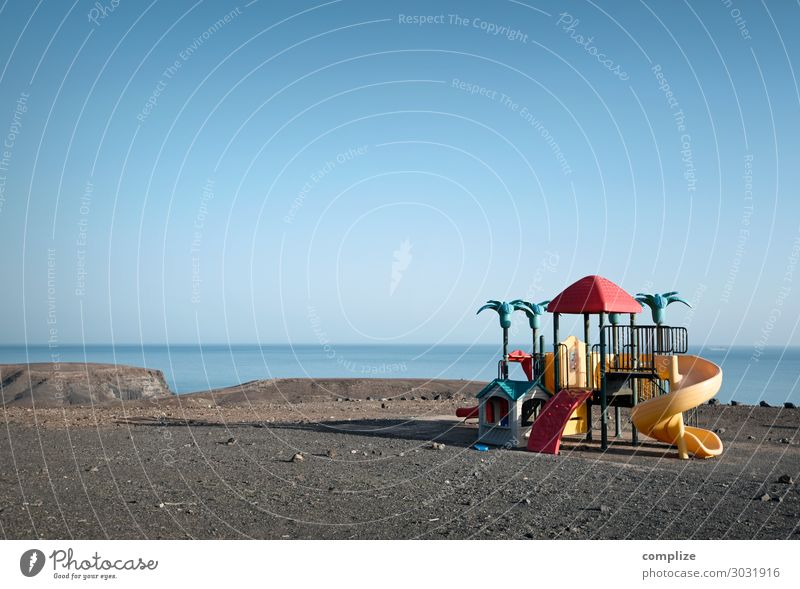 play paradise Joy Leisure and hobbies Playing Child Environment Nature Horizon Sun Climate Deserted Bizarre Modern Playground Sparse Statue False Ocean Beach