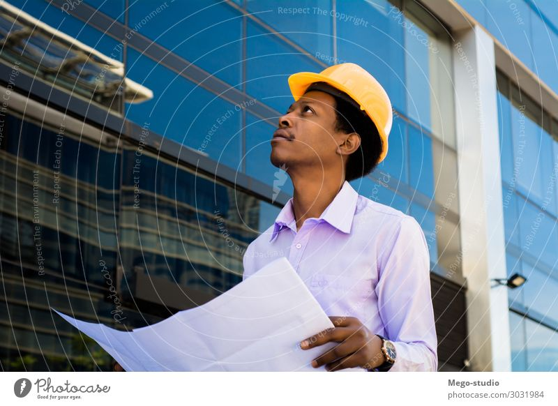 professional architect in helmet looking away Human being Man Black Architecture Adults Business Building Work and employment Office Modern Smiling Industry
