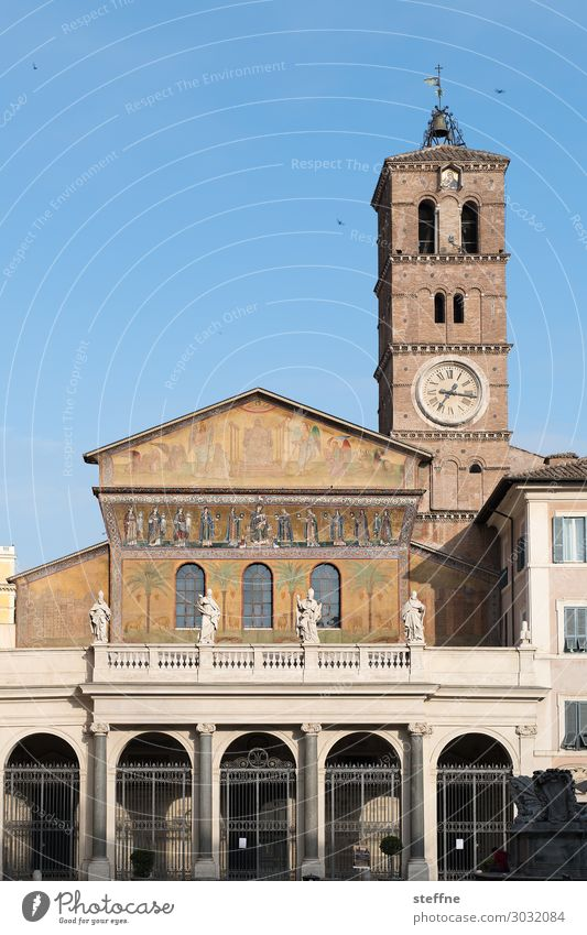 Chiesa 4 Church Religion and faith Romanesque style Rome Italy Trastevere Church spire Church tower clock Fresco Christianity Catholicism Basilica