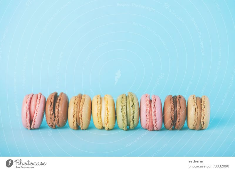 colorful macarons Food Roll Dessert Candy Chocolate Nutrition Breakfast Table Wood To feed Feeding Delicious Rich Juicy Blue Yellow Green Pink Colour To enjoy