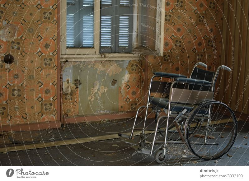 vintage wheelchair and dusty floor in old house Illness House (Residential Structure) Chair Wallpaper Deserted Ruin Old Creepy Retro Loneliness Distress vntage