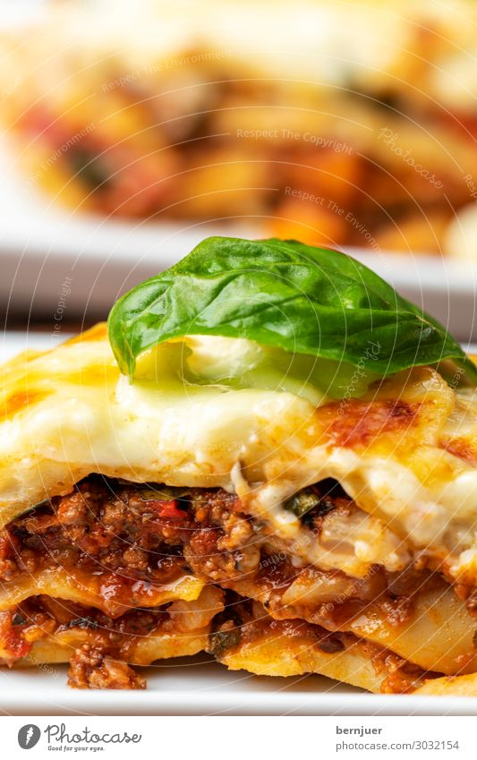 Close-up of the lasagna Meat Cheese Lunch Dinner Plate Wood Fresh Hot Kitsch Delicious Lasagne Eating Italian Meal pasta tribunal Basil homemade Kitchen