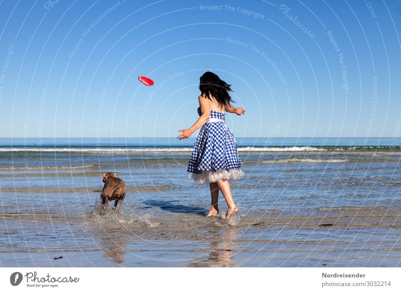 Woman Human being Vacation & Travel Dog Blue Water Ocean Joy Beach Lifestyle Adults Feminine Coast Playing Freedom Wild