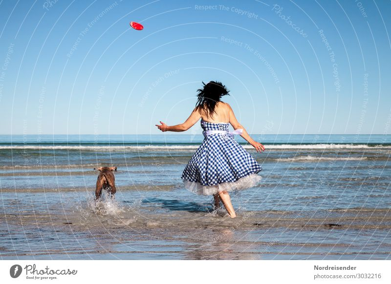 Woman Human being Vacation & Travel Dog Summer Water Sun Ocean Relaxation Joy Beach Adults Feminine Playing Freedom Waves