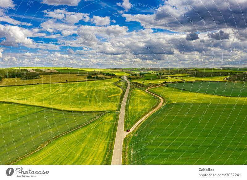 Agricultural fields in a village in Spain. Beautiful Summer Culture Nature Landscape Plant Grass Meadow Terrace Aircraft Growth Above Green Colour East Harvest