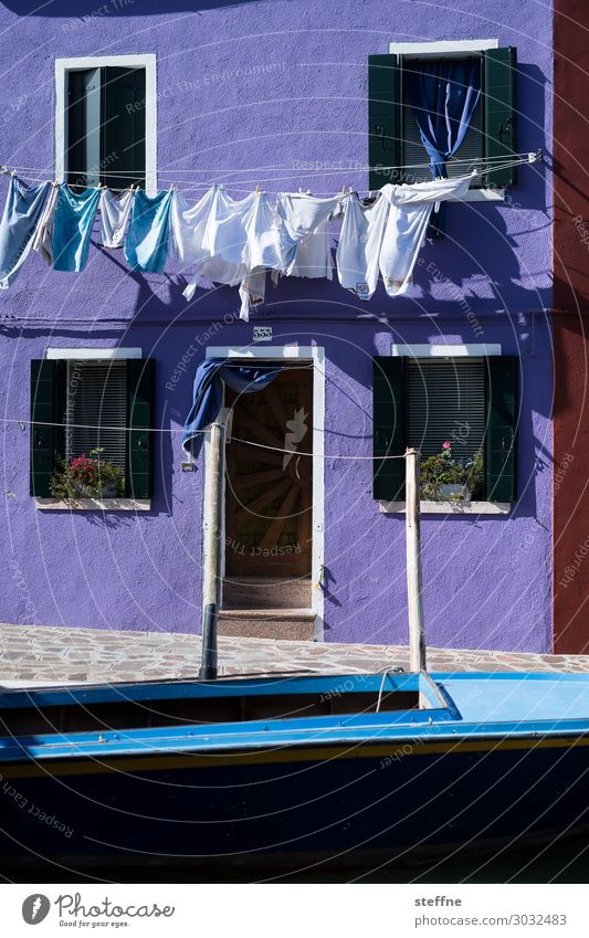 coloured fabrics House (Residential Structure) Wall (barrier) Wall (building) Facade Clean Cleaning Wash hanging up laundry Laundry Dry Violet Watercraft Venice