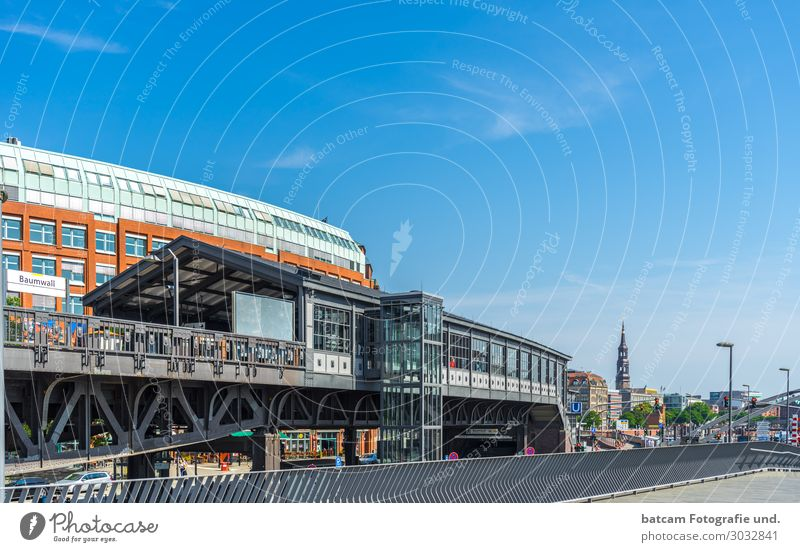 Hamburg Hochbahn stop Baumwall Vacation & Travel Tourism Sightseeing City trip Summer Town Port City Downtown Skyline House (Residential Structure)
