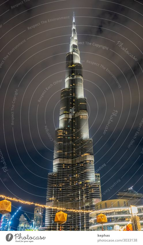 Burj Khalifa at Night Dubai United Arab Emirates Town Downtown House (Residential Structure) Manmade structures Building Architecture High-rise Tower