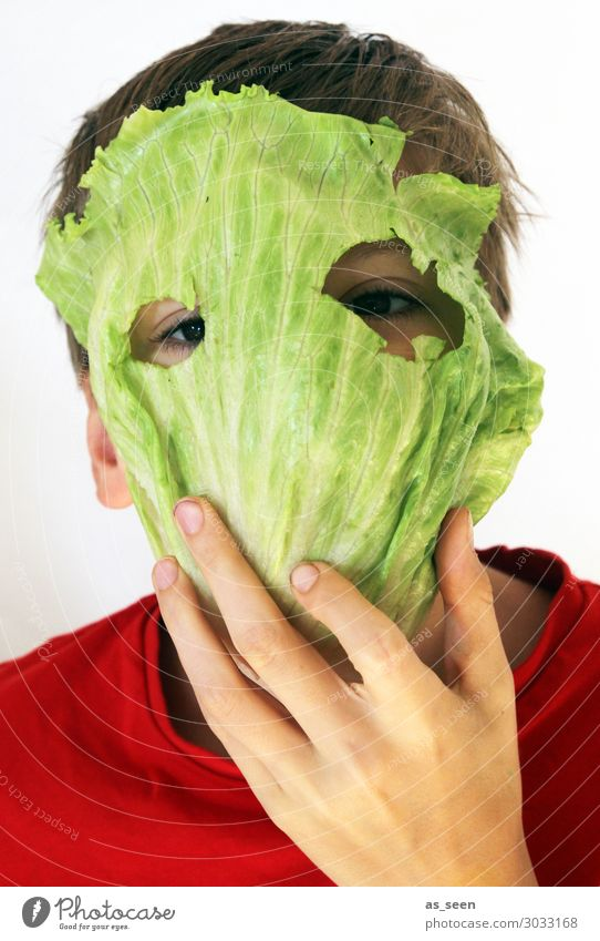 Strict Vegetarian Lettuce Salad Salad leaf Nutrition Eating Organic produce Vegetarian diet Diet Fasting Boy (child) Infancy Head Eyes 8 - 13 years Child