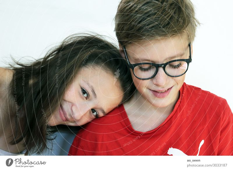 twins Girl Boy (child) Brothers and sisters Sister Family & Relations Youth (Young adults) 2 Human being 13 - 18 years Eyeglasses Brunette Blonde Smiling