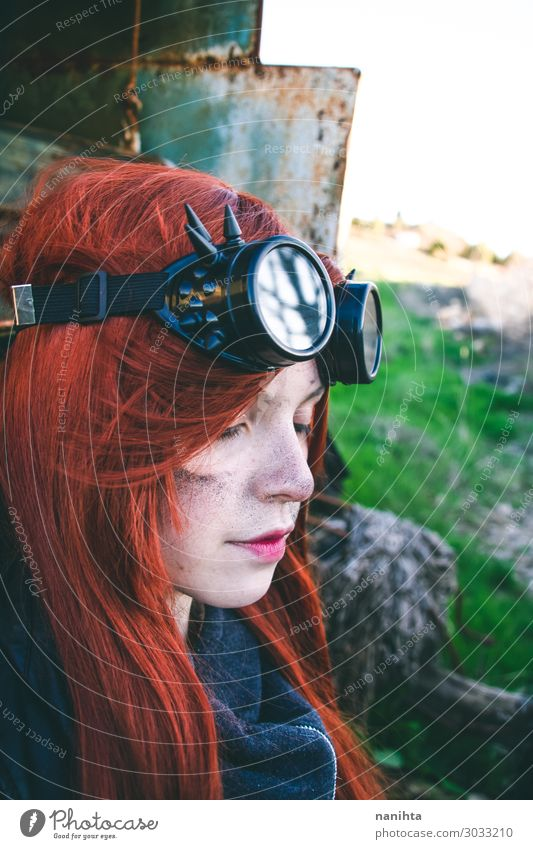 Young woman wearing steampunk style clothes Woman Human being Youth (Young adults) 18 - 30 years Face Adults Life Feminine Style Exceptional Work and employment