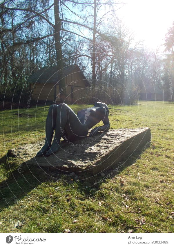 sun worshipper Art Sculpture Nature Plant Sunlight Meadow Berlin Germany Naked Bronze Colour photo Exterior shot Nude photography Deserted Day