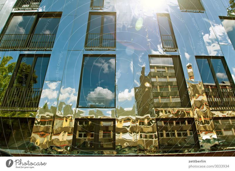 Reflecting facade again Architecture Berlin Office City Germany Facade Worm's-eye view Capital city House (Residential Structure) Sky Heaven High-rise Downtown