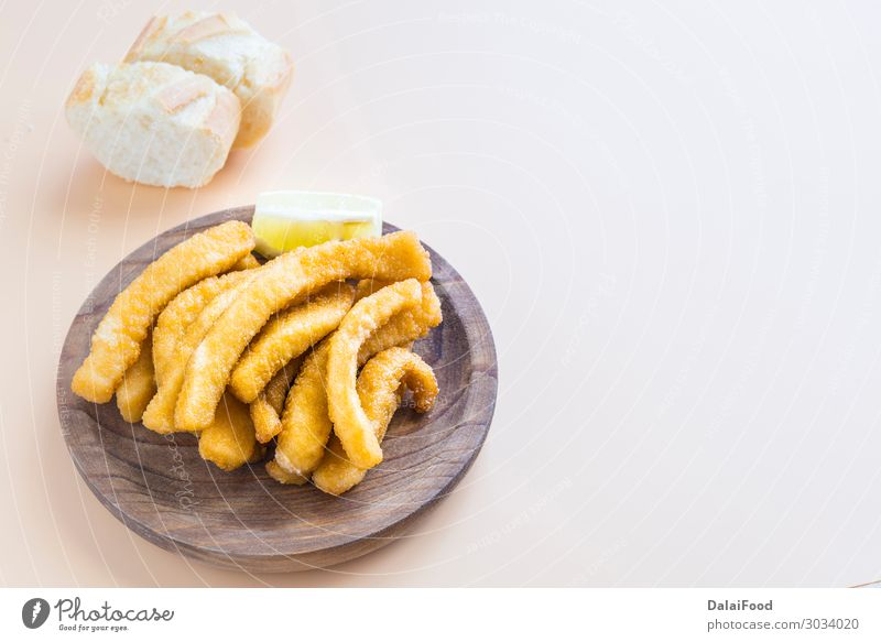 Cuttlefish breaded and fried (chocos, typical tapa in spain) Seafood Nutrition Lunch Dinner Plate Ocean Restaurant Group Animal Fresh Delicious New Brown Yellow
