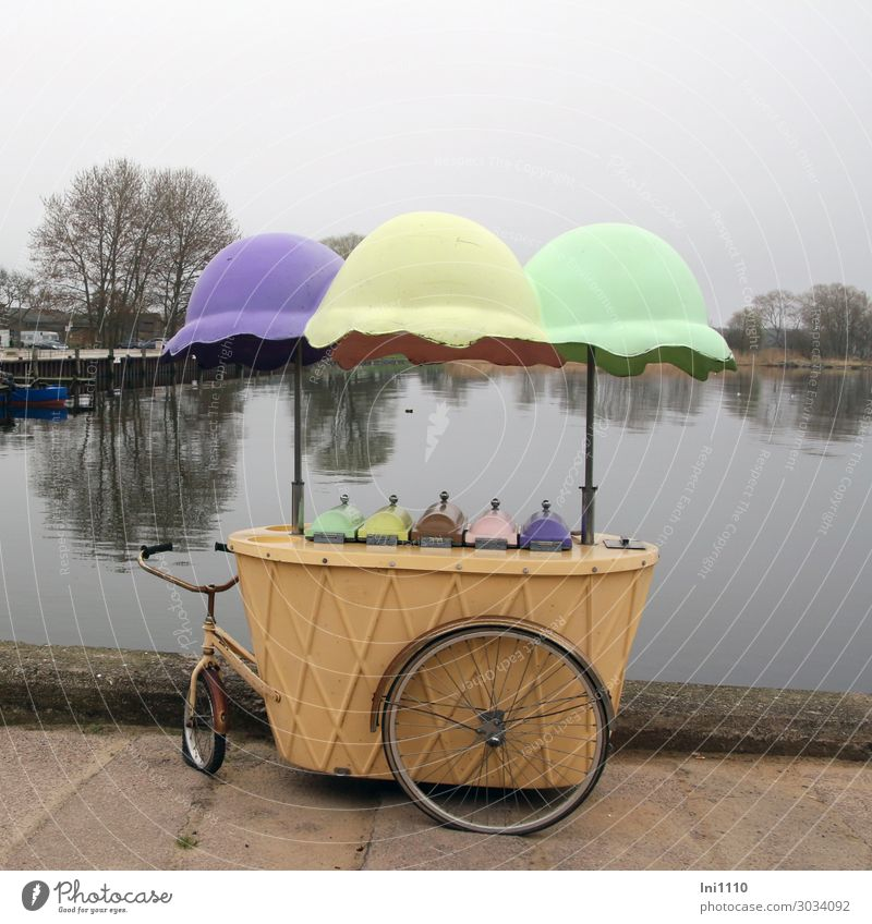 Ice cart, Kamminke Usedom ice car Blue Brown Yellow Gray Green Black Fishing village ice cream sale Nostalgia Bicycle Sunshade Multicoloured Funny Historic