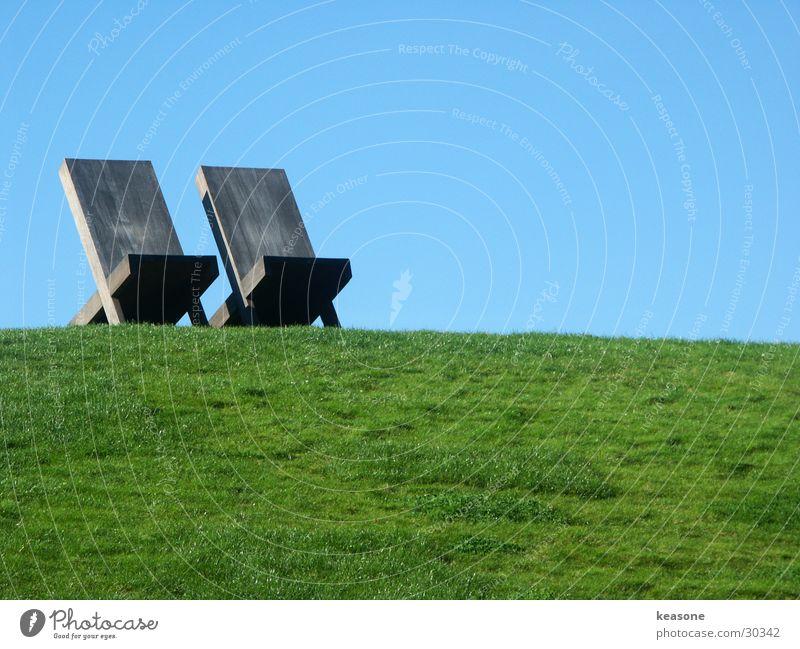 Sky Green Blue Meadow Grass Wood Lawn Chair Beautiful weather Backrest
