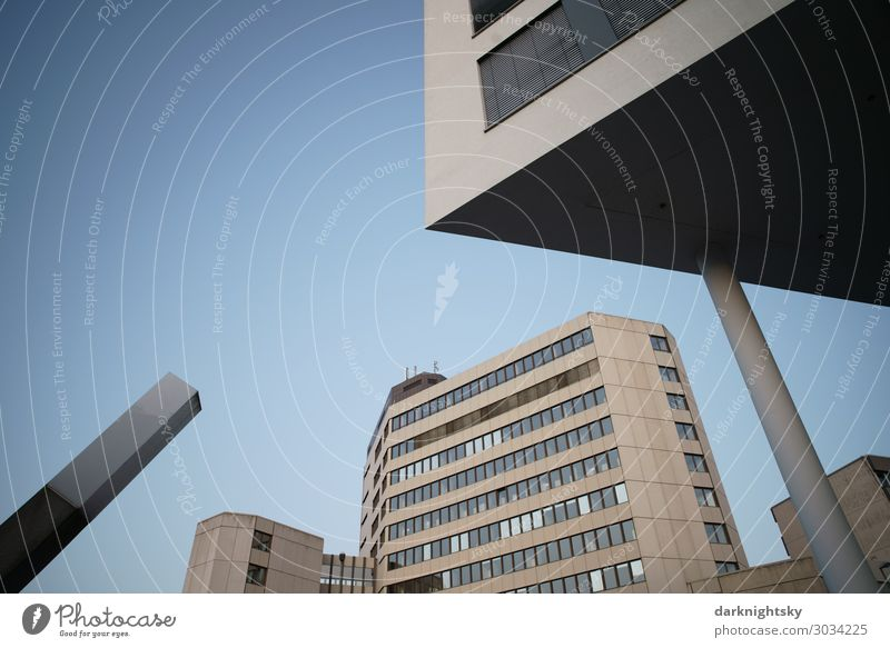 Modern Architecture Photography meadow victories Germany Europe Town Deserted City hall Manmade structures Building Tax and revenue office Bank building