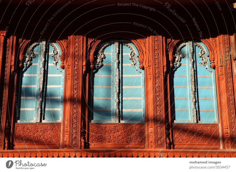 Wooden window with designed panel outside Rajasthan India Asia Village Old town Architecture Old building Wall (barrier) Wall (building) Balcony Terrace Window