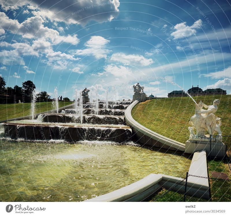 frisky Landscape Water Sky Clouds Beautiful weather Tree Grass Park Vienna Belvedere Capital city Downtown Architecture Tourist Attraction Historic