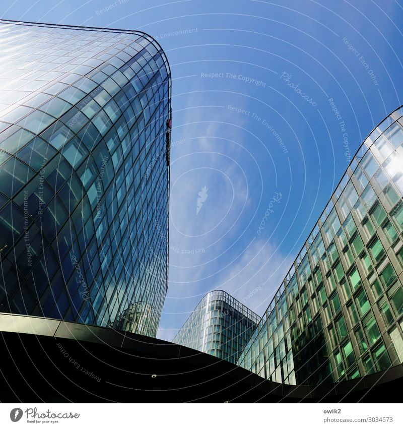 Creepy Sky Clouds Vienna Capital city Downtown High-rise Manmade structures Building Wall (barrier) Wall (building) Facade Glass Glittering Hideous Modern Round