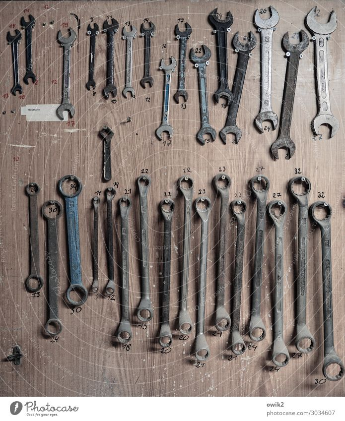 Timur and his troops Workplace Tool Collection Workshop Screw wrench Difference Metal Digits and numbers Hang Old Together Glittering Many Integrity Orderliness