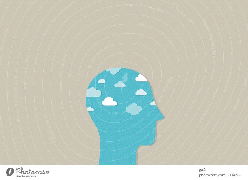 Clouds in the head Human being Head 1 Climate Weather Sign Esthetic Exceptional Free Infinity Blue Emotions Serene Calm Longing Wanderlust Healthy Idea Identity