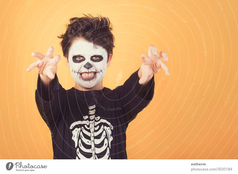 Happy Halloween. funny child in a skeleton costume of halloween Child Human being Joy Dark Autumn Feasts & Celebrations Death Fear Masculine Smiling Infancy