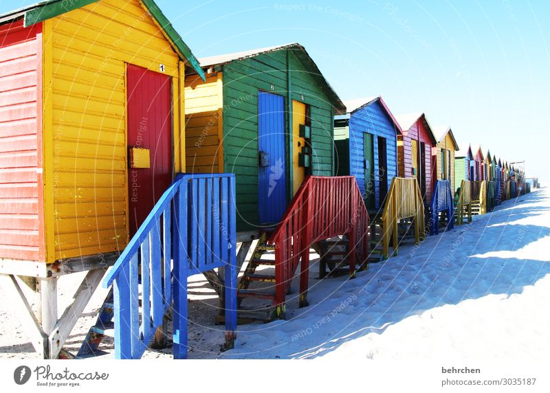 the colourful houses of muizenberg To enjoy Dream Cape Town Vacation & Travel Freedom Nature Far-off places Trip Adventure Tourism Sky coast Beach Ocean