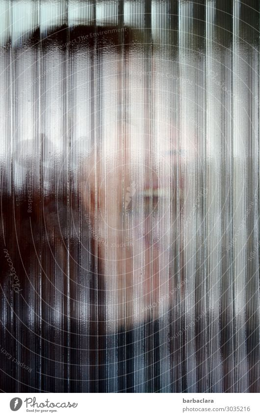 Blurry horror. Feminine Woman Adults 1 Human being Window Door Glass Line Scream Threat Creepy Emotions Fear Distress Whimsical Colour photo Subdued colour