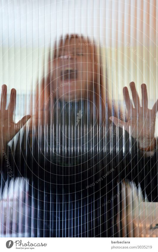 Weltschmerz, the scream. Woman Adults 1 Human being Window Door Red-haired Long-haired Glass Scream Threat Creepy Emotions Moody Pain Fear Dangerous Distress